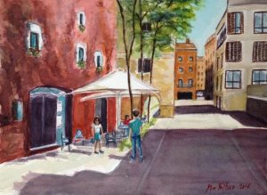 Watercolor painting. This is a popular coffee bar in Girona, with people in the terrace.