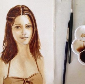 Blog image. Coffee watercolor portrait of a beautiful young lady, Verónica Pupkin Link