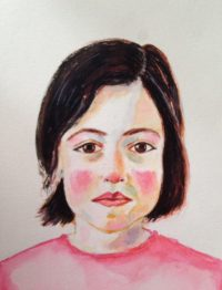 Watercolor Atreza girl portrait