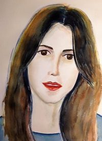 Watercolor portrait lady in blue