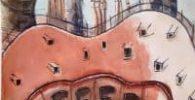 Watercolor. top roof terrace modernist building.