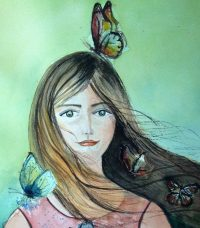 transparent watercolor lady covered with butterflies