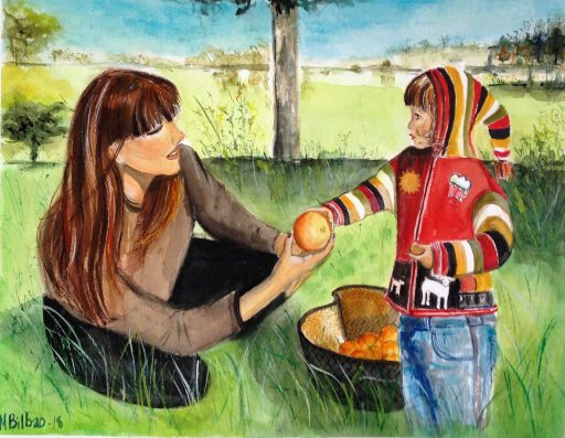 Figurative watercolor, family scene of Grandma and granddaughter