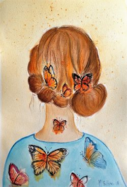 Lady butterfly in blue dress watercolor