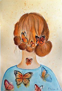 Lady butterfly in blue dress watercolor