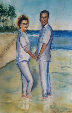 watercolor couple by the sea.