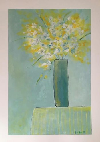 fine art acrylic abstract painting, blue and yellow flowers