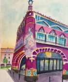 how to use bright colors in painting a building watercolor, Palau de la Música Catalana