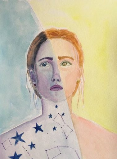 creative watercolor illustration of a lady universe