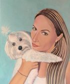 Acrylic realist Portrait of a woman and puppy